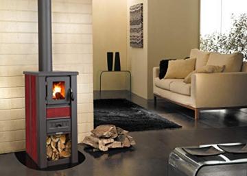 acerto 20119 LAVA Kaminofen Ceramic rot mit Sichtfenster, 35x44x82 cm – Kompakter Premium Holzofen für kleine Räume mit 8,5kW Heizleistung - 5