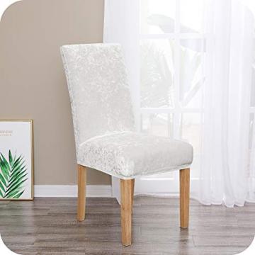 Amazon Brand – Umi 2 Stück Stuhlhussen Elastisch Stuhlbezug 46x46x60 cm Weiß - 1