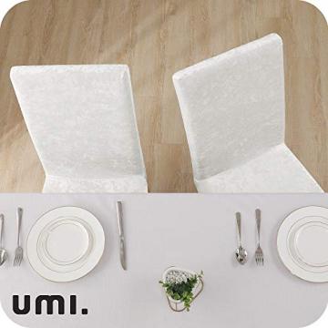 Amazon Brand – Umi 2 Stück Stuhlhussen Elastisch Stuhlbezug 46x46x60 cm Weiß - 2