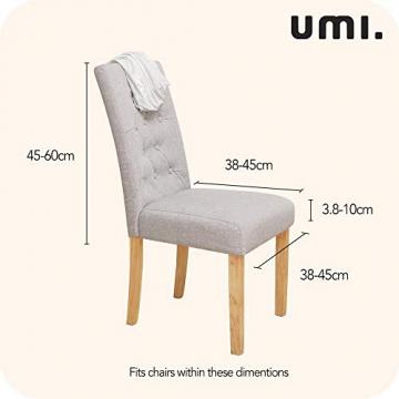 Amazon Brand – Umi 2 Stück Stuhlhussen Elastisch Stuhlbezug 46x46x60 cm Weiß - 3