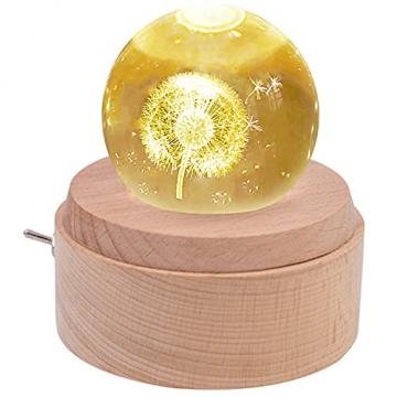 BIAOQINBO Löwenzahn, 3D Kristallkugel Beleuchtung Spieluhr, GlaskugelNachtlicht Musikbox Schneekugel, Geburtstag, Valentinstag, Kindertag, Weihnachten Geschenk, Deko für Schlaf- / Wohnzimmer/Büro - 1