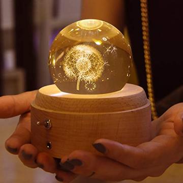 BIAOQINBO Löwenzahn, 3D Kristallkugel Beleuchtung Spieluhr, GlaskugelNachtlicht Musikbox Schneekugel, Geburtstag, Valentinstag, Kindertag, Weihnachten Geschenk, Deko für Schlaf- / Wohnzimmer/Büro - 6