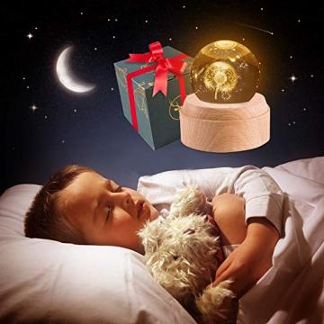BIAOQINBO Löwenzahn, 3D Kristallkugel Beleuchtung Spieluhr, GlaskugelNachtlicht Musikbox Schneekugel, Geburtstag, Valentinstag, Kindertag, Weihnachten Geschenk, Deko für Schlaf- / Wohnzimmer/Büro - 7
