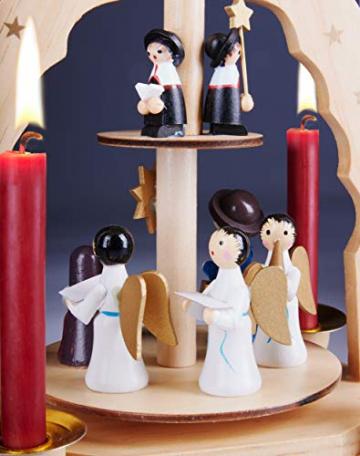 Brubaker 2-stöckige Weihnachtspyramide aus Holz - 30 cm - Krippenszene mit Jesuskind Maria und Josef, Engeln und Sternsingern - 3