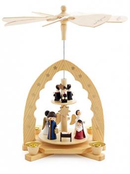 Brubaker 2-stöckige Weihnachtspyramide aus Holz - 30 cm - Krippenszene mit Jesuskind Maria und Josef, Engeln und Sternsingern - 1