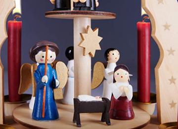 Brubaker 2-stöckige Weihnachtspyramide aus Holz - 30 cm - Krippenszene mit Jesuskind Maria und Josef, Engeln und Sternsingern - 4