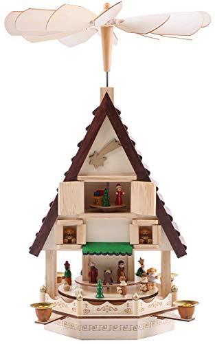 Brubaker Weihnachtspyramide Adventshaus 49 cm - Weihnachtskrippe auf 4 Etagen - Kerzenpyramide mit 4 Kerzenhaltern aus Metall - Holz Natur - handbemalte Figuren - 1