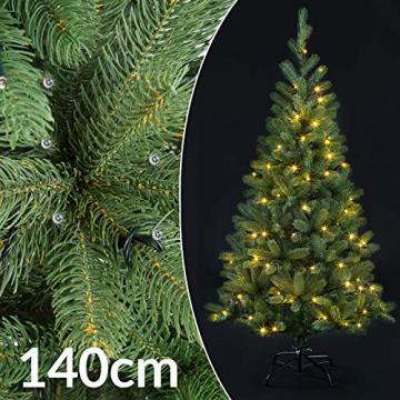 Casaria Weihnachtsbaum 140 cm LED Lichterkette Edeltanne Ständer künstlicher Tannenbaum Christbaum Weihnachten PE Grün - 4