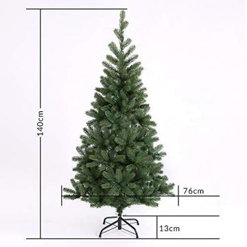 Casaria Weihnachtsbaum 140 cm LED Lichterkette Edeltanne Ständer künstlicher Tannenbaum Christbaum Weihnachten PE Grün - 7