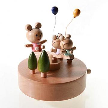 Chonor Innovative Szene aus Holz Spieluhr, Premier Spieluhr Handkurbel Handwerk Reine Hand-klassischen Music Box Dekorationen Idee für Geburtstag Weihnachten - Wippe - 3