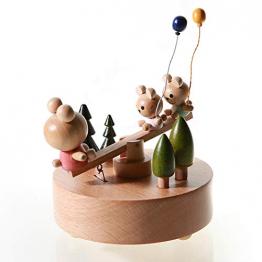 Chonor Innovative Szene aus Holz Spieluhr, Premier Spieluhr Handkurbel Handwerk Reine Hand-klassischen Music Box Dekorationen Idee für Geburtstag Weihnachten - Wippe - 1