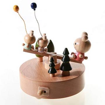 Chonor Innovative Szene aus Holz Spieluhr, Premier Spieluhr Handkurbel Handwerk Reine Hand-klassischen Music Box Dekorationen Idee für Geburtstag Weihnachten - Wippe - 4