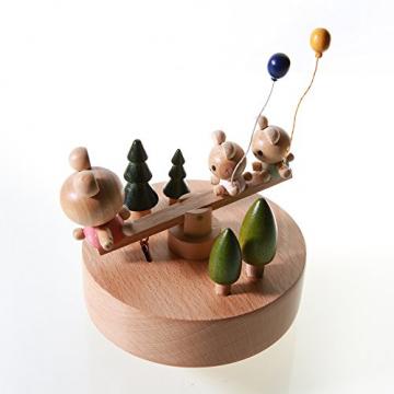 Chonor Innovative Szene aus Holz Spieluhr, Premier Spieluhr Handkurbel Handwerk Reine Hand-klassischen Music Box Dekorationen Idee für Geburtstag Weihnachten - Wippe - 5