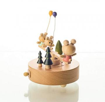 Chonor Innovative Szene aus Holz Spieluhr, Premier Spieluhr Handkurbel Handwerk Reine Hand-klassischen Music Box Dekorationen Idee für Geburtstag Weihnachten - Wippe - 6