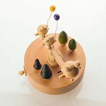 Chonor Innovative Szene aus Holz Spieluhr, Premier Spieluhr Handkurbel Handwerk Reine Hand-klassischen Music Box Dekorationen Idee für Geburtstag Weihnachten - Wippe - 7