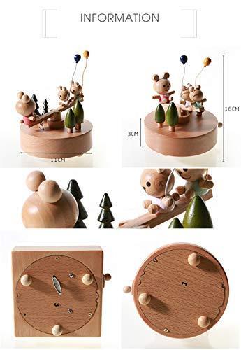Chonor Innovative Szene aus Holz Spieluhr, Premier Spieluhr Handkurbel Handwerk Reine Hand-klassischen Music Box Dekorationen Idee für Geburtstag Weihnachten - Wippe - 8