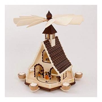 Colours-Manufaktur Weihnachtspyramide aus dem Erzgebirge mit Teelichtern * Modell: Kinder + Jäger + Katze + Mäuse * - 2
