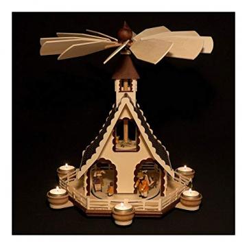 Colours-Manufaktur Weihnachtspyramide aus dem Erzgebirge mit Teelichtern * Modell: Kinder + Jäger + Katze + Mäuse * - 3