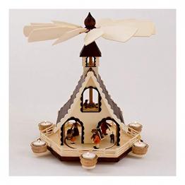 Colours-Manufaktur Weihnachtspyramide aus dem Erzgebirge mit Teelichtern * Modell: Kinder + Jäger + Katze + Mäuse * - 1