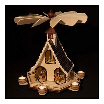Colours-Manufaktur Weihnachtspyramide aus dem Erzgebirge mit Teelichtern * Modell: Kinder + Jäger + Katze + Mäuse * - 4