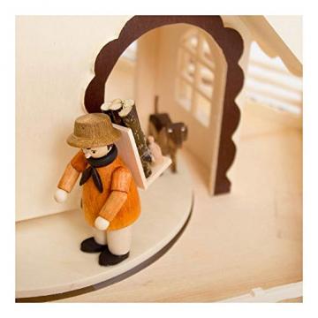 Colours-Manufaktur Weihnachtspyramide aus dem Erzgebirge mit Teelichtern * Modell: Kinder + Jäger + Katze + Mäuse * - 5