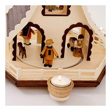 Colours-Manufaktur Weihnachtspyramide aus dem Erzgebirge mit Teelichtern * Modell: Kinder + Jäger + Katze + Mäuse * - 6