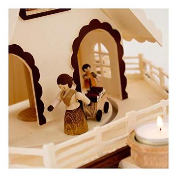 Colours-Manufaktur Weihnachtspyramide aus dem Erzgebirge mit Teelichtern * Modell: Kinder + Jäger + Katze + Mäuse * - 7