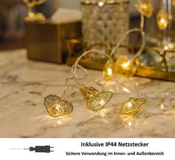 CozyHome LED Lichterkette Herz – 5m strombetrieben | 20 Herzen warmweiß | Led Herz Strom | Tumblr Deko für: Mädchen Schlafzimmer, Hochzeit, Schminktisch | Rosa Gold Lichterketten mit Stecker - 2