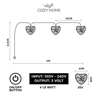 CozyHome LED Lichterkette Herz – 5m strombetrieben | 20 Herzen warmweiß | Led Herz Strom | Tumblr Deko für: Mädchen Schlafzimmer, Hochzeit, Schminktisch | Rosa Gold Lichterketten mit Stecker - 3