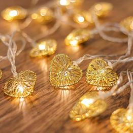 CozyHome LED Lichterkette Herz – 5m strombetrieben | 20 Herzen warmweiß | Led Herz Strom | Tumblr Deko für: Mädchen Schlafzimmer, Hochzeit, Schminktisch | Rosa Gold Lichterketten mit Stecker - 1