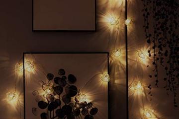 CozyHome LED Lichterkette Herz – 5m strombetrieben | 20 Herzen warmweiß | Led Herz Strom | Tumblr Deko für: Mädchen Schlafzimmer, Hochzeit, Schminktisch | Rosa Gold Lichterketten mit Stecker - 6