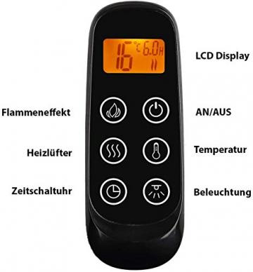 CrownFlame Elektrokamin Phanos - Elektrischer Standkamin Mit Heizung, LED-Beleuchtung, 3D-Flammeneffekt & Fernbedienung - Elektrischer Kamin - Dunkelbraun - 8