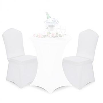 Deuba Stuhlhussen Stretch 4er Set Dehnbar Weiß Weihnachten Hochzeit Events Universal Husse Stuhlbezug Stuhlüberzug Bezug - 4