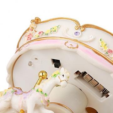 Docooler Mini Karussell Uhrwerk Spieluhr Bunte LED Merry-go-Round Spieluhr Geschenk für Freundin Kinder Kinder Weihnachten Festival - 4