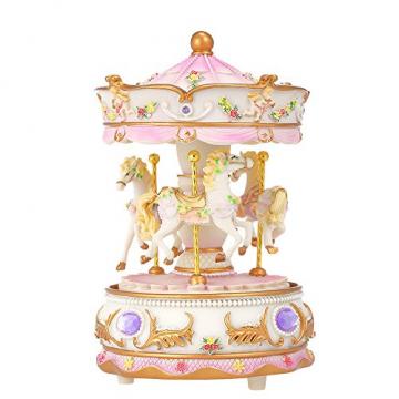 Docooler Mini Karussell Uhrwerk Spieluhr Bunte LED Merry-go-Round Spieluhr Geschenk für Freundin Kinder Kinder Weihnachten Festival - 1