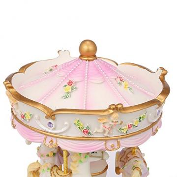 Docooler Mini Karussell Uhrwerk Spieluhr Bunte LED Merry-go-Round Spieluhr Geschenk für Freundin Kinder Kinder Weihnachten Festival - 5
