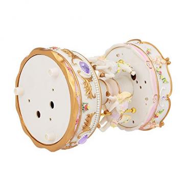 Docooler Mini Karussell Uhrwerk Spieluhr Bunte LED Merry-go-Round Spieluhr Geschenk für Freundin Kinder Kinder Weihnachten Festival - 6