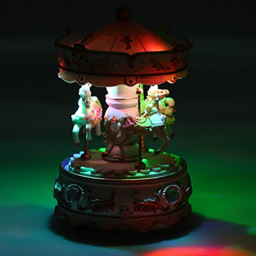 Docooler Mini Karussell Uhrwerk Spieluhr Bunte LED Merry-go-Round Spieluhr Geschenk für Freundin Kinder Kinder Weihnachten Festival - 7