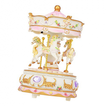 Docooler Mini Karussell Uhrwerk Spieluhr Bunte LED Merry-go-Round Spieluhr Geschenk für Freundin Kinder Kinder Weihnachten Festival - 8