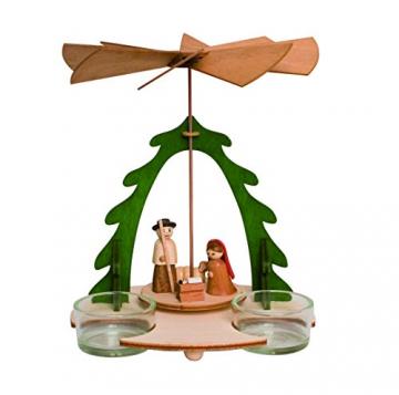 Drechslerei Kuhnert - Hobaku Bastelset Pyramide/Teelichthalter - Weihnachtspyramide mit Krippefiguren - aus Holz zum Zusammenbauen - Made in Germany - 1