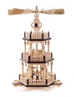 DREGENO Seiffen Pyramide mit Christi Geburt, Holz, Natur, 24 x 24 x 34 cm - 1