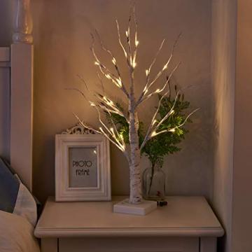 EAMBRITE Lichterbaum Lichterzweige für Innen 24 Warmweiß LEDs Bäumchen Birken Dekozweige Batteriebetrieb Weihnachtsdeko für Zuhause Party Geburtstag Hochzeit Innendekoration (60cm/2ft) - 3