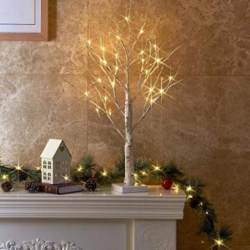 EAMBRITE Lichterbaum Lichterzweige für Innen 24 Warmweiß LEDs Bäumchen Birken Dekozweige Batteriebetrieb Weihnachtsdeko für Zuhause Party Geburtstag Hochzeit Innendekoration (60cm/2ft) - 9