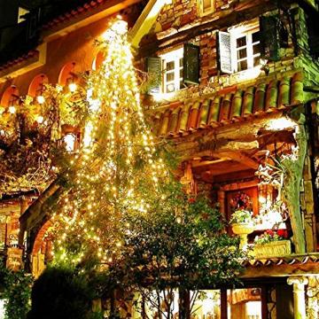 Erchen Strom-betrieben LED Lichterkette, 165 FT 500 LED 50M Stecker dimmbare Kupfer Draht Lichterketten mit 12V DC Adapter Fernbedienung für Innen Außen Weihnachten Party (warmweiß) - 3