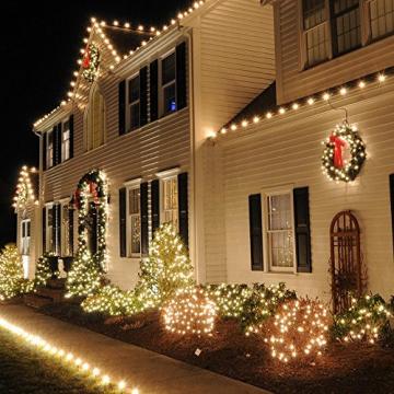 Erchen Strom-betrieben LED Lichterkette, 165 FT 500 LED 50M Stecker dimmbare Kupfer Draht Lichterketten mit 12V DC Adapter Fernbedienung für Innen Außen Weihnachten Party (warmweiß) - 4