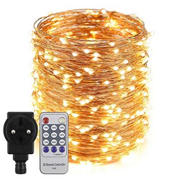 Erchen Strom-betrieben LED Lichterkette, 165 FT 500 LED 50M Stecker dimmbare Kupfer Draht Lichterketten mit 12V DC Adapter Fernbedienung für Innen Außen Weihnachten Party (warmweiß) - 1