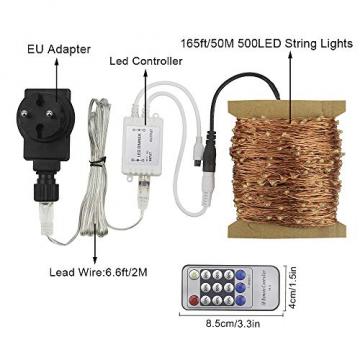 Erchen Strom-betrieben LED Lichterkette, 165 FT 500 LED 50M Stecker dimmbare Kupfer Draht Lichterketten mit 12V DC Adapter Fernbedienung für Innen Außen Weihnachten Party (warmweiß) - 7