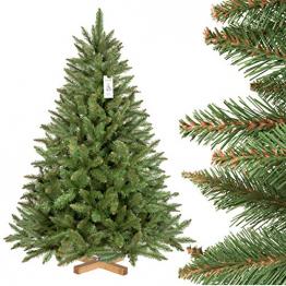 FairyTrees künstlicher Weihnachtsbaum FICHTE Natur, grüner Stamm, Material PVC, inkl. Holzständer, 150cm, FT01-150 - 1