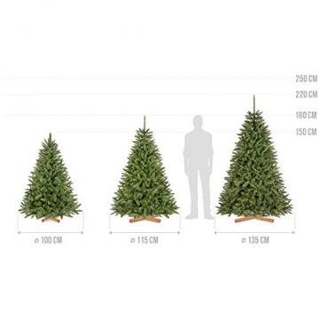 FairyTrees künstlicher Weihnachtsbaum FICHTE Natur, grüner Stamm, Material PVC, inkl. Holzständer, 150cm, FT01-150 - 5