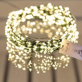 FairyTrees Micro LED Lichterkette für Weihnachtsbaum, FairyGlow 600 LEDs, Farbtemperatur 2700K (warmweiß), grüner Kupferdraht 30m (IP44), FG600 - 1